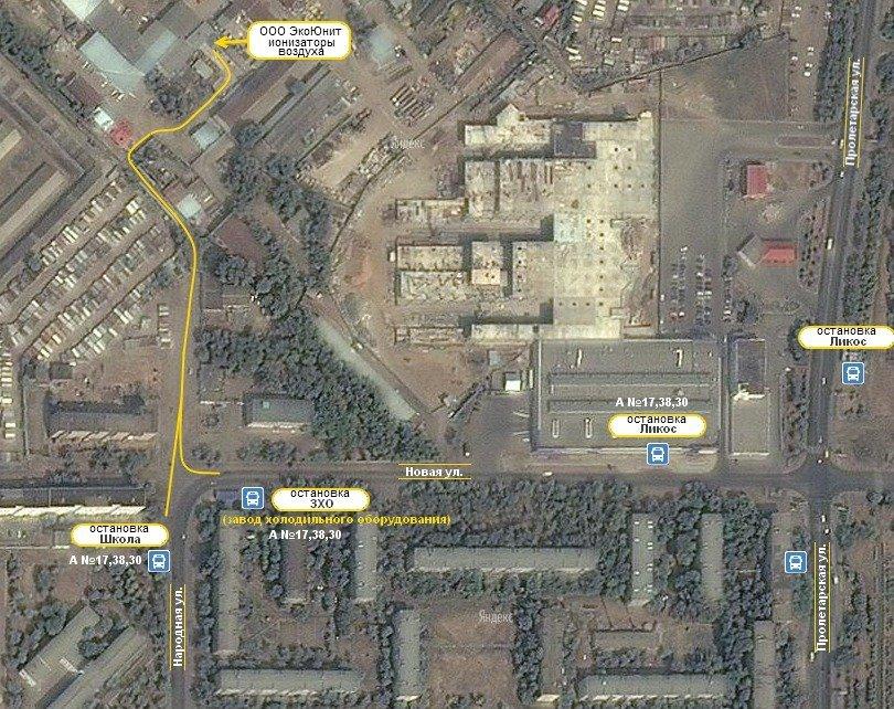 Снимок со спутника маршрута к ООО ЭкоЮнит